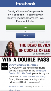 Dendy Coorparoo – Win Double Passes to The Dead Devils of Cockle Creek Brisbane