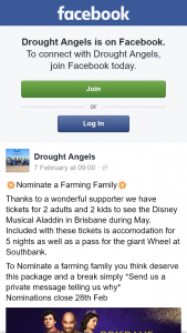 Drought Angels – Win Tickets to Aladdin and Accomodation Brisbane Nominate a Farming Family