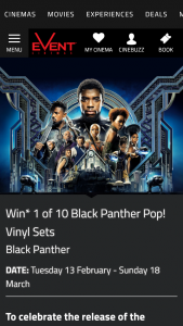 "Event Cinemas Cinebuzz – ""win 1 of 10 Black Panther Pop"