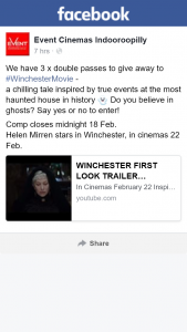 Event Cinemas Indooroopilly – Win One of Three Double Passes to See Winchester