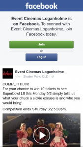 Event Cinemas Loganholme – Win 10 Tickets to See Superbowl Lii this Monday 5/2 Simply Tells Us What Your Chuck a Sickie Excuse Is and Who You Would Bring