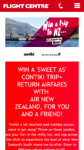 Flight Centre – Win a 'sweet As' Contiki Trip Return Airfares With (prize valued at $5,000)