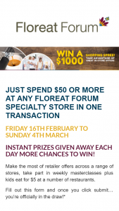 Floreat Forum – Win a $1000 Shopping Spree Other Daily Prizes at Floreat Forum