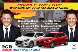 2GB & West End Mazda – Win One of Two New Mazdas In this Special Valentines Competition (prize valued at $35,980)