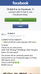 I'll Sell It – Win a $100.00 Coles Express Gift Card (prize valued at $100)