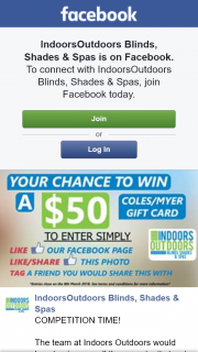 Indoors Outdoors $50 Coles – Competition (prize valued at $50)