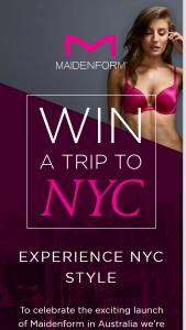 Maidenform – Return Economy Airfares for Two (prize valued at $10,000)