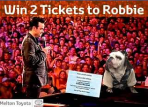 Melton Toyota – Win Two Awesome Seats to Robbie Williams Live at Rod Laver on Sunday February 25th