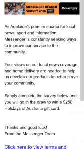 Messenger – Win a $250 Holidays of Australia Gift Card