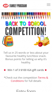 Metcash IGA Family -Tell us about your healthy lunch box ideas & – Win 1 of 3 $100 Iga Gift Cards (prize valued at $300)
