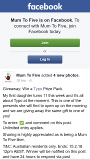 Mum to five – Win a Typo Prize Pack