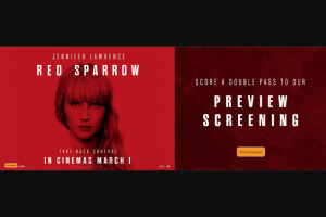 myGC – Win 1/40 Double Pass to a Preview Screening of Red Sparrow on 28 February