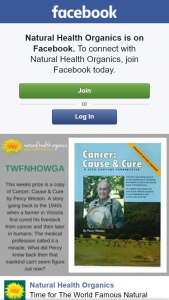 Natural Health Organics – Win a Copy of Cancer Cause & Cure