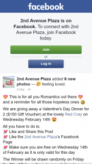 2nd Avenue Plaza – Win Valentine's Day Dinner for 2 $150 Gift Voucher at Red Cray on Wednesday February 14th (prize valued at $150)