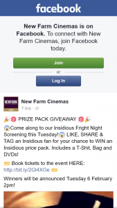 New Farm Cinemas – Win an Insidious Prize Pack