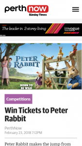 Perth Now – Win Tickets to Peter Rabbit closes 12 Noon