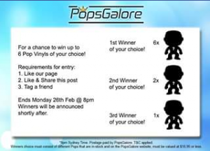 Pops Galore – Win Up to 6 Pop Vinyls of Your Choice (prize valued at $16.95)