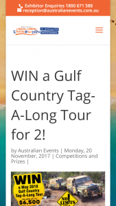 QLD Moreton Bay Caravan Camping Boating & 4×4 2018 Expo – Win a Guided Gulf Country Tag-A-Long Tour for Two People In May 2018 (prize valued at $6,500)
