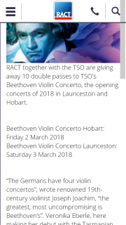 RACT – Win 1 of 10 Double Passes to Tso's Beethoven Violin Concerto The Opening Concerts of 2018 In Launceston and Hobart​