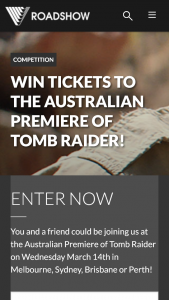 Roadshow – Win Tickets to The Australian Premiere of Tomb Raider