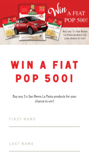 San Remo – Win a Fiat Pop 500 (prize valued at $19,000)