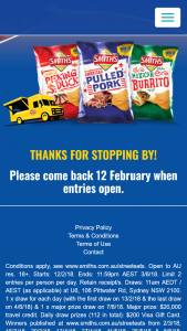 Smiths Chips – Win an Overseas Trip With Up to Three Companions (prize valued at $20,000)