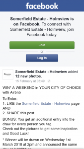 Somerfield Estate – Win an Airbnb Weekend In Your City of Choice (prize valued at $300)
