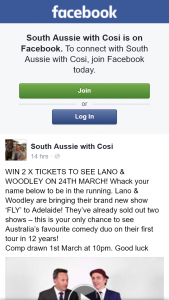 South Aussie With Cosi – Win 2 X Tickets to See Lano & Woodley on 24th March