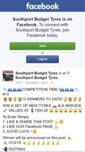 Southport Budget Tyres – Win a Set of New Tyres & a Service Valued at 1500.00 (prize valued at $1,500)