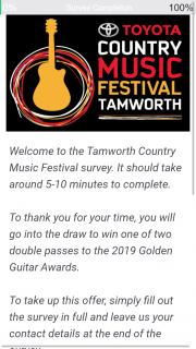 2018 Tamworth Country Music Festival Survey – Win One of Two Double Passes to The 2019 Golden Guitar Awards (prize valued at $600)