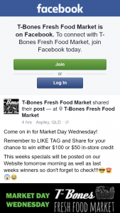 T-Bones Fresh Food Market – Win Either $50 Or $100 In-Store Credit