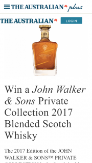 The Australian Plus Subscribers – Win a John Walker & Sons Private Collection 2017 Blended Scotch Whisky (prize valued at $995)