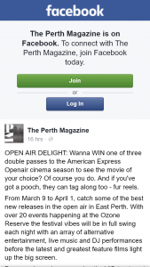 The Perth Magazine – Win One of Three Double Passes to The American Express Openair Cinema Season to See The Movie of Your Choice