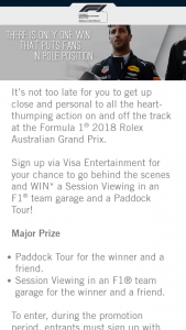 Visa Entertainment – Win a Session Viewing In an F1 Team Garage and a Paddock Tour for You and a Friend (prize valued at $2,250)