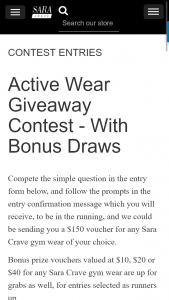 Win a $150 Voucher for Sara Crave Gym Wear of Your Choice Or Runner Up Vouchers (prize valued at $10)