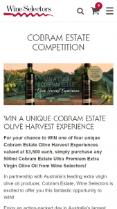 Wine Selectors – Win a Unique Cobram Estate Olive Harvest Experience (prize valued at $3,500)