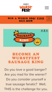 Wurstfest – Sausage King – Win a Weber Bbq