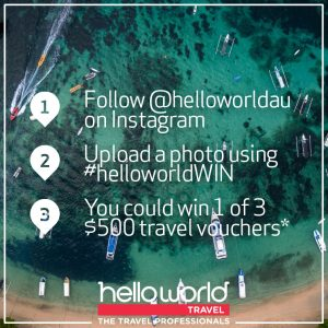 Hello World – Win 1 of 3 Helloworld Travel Vouchers valued at $500 each