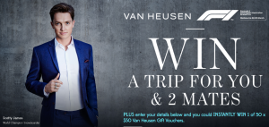 PVH Brands Australia – Van Heusen Mentor Event 2018 – Win a major prize of a trip for 3 to Melbourne to attend the 2018 Australian Grand Prix OR 1 of 50 Van Heusen vouchers