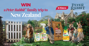 Yates – Peter Rabbit – Win a major prize of a trip for 4 to Rangitikei Farmstay in New Zealand OR 1 of 4 weekly prizes of a family movie pass for 4