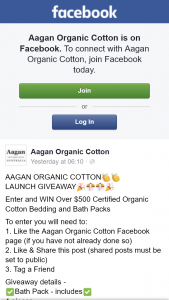Aagan Organic Cotton – Win Over $500 Certified Organic Cotton Bedding and Bath Packs (prize valued at $500)