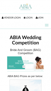 ABIA Wedding Competition – Win The Major Prize of $10000.00 Which Is to Be Spent Only on Participating Suppliers of The Abia Bag Competition (prize valued at $90,000)