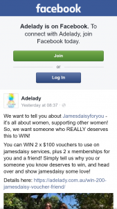Adelady – Win 2 X $52 Annual Memberships and 2 X $100 Jamesdaisy Vouchers for You and a Friend to Spend on Any Service You Like