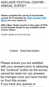 Adelaide Festival Centre Survey – Win a Bass Ticket Voucher to The Value of $750 to Put Towards Tickets to Any Available Shows of Your Choice (prize valued at $750)