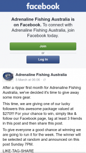 Adrenaline Fishing Australia – Win Fishing Package (prize valued at $270)