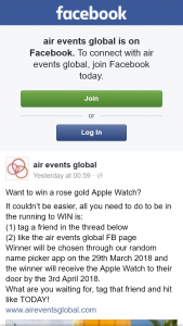 Air Events Global – Win a Rose Gold Apple Watch