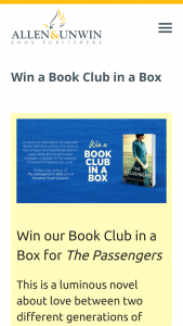 Allen & Unwin – Win Our Book Club In a Box for The Passengers