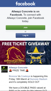 Allwayz Concrete – Win The Match (prize valued at $400)