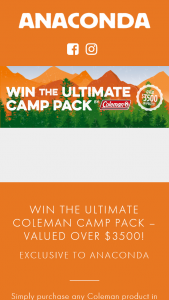 Anaconda Stores – 'win The Ultimate Coleman Camp Pack' 2018 Competition (prize valued at $3,500)