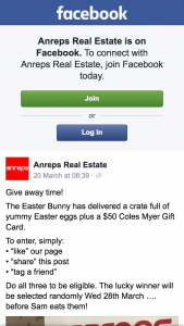 Anreps Real Estate – Win $50 Coles Myer Gift Card Chocolate Hamper